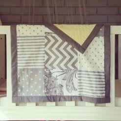 Patchwork blanket grey #patchworkblanket #cotblanket #custom #handcrafted #grey #polkadot #chevron #filagree #stripes #nursery #baby #warm #blanket #moocachoo