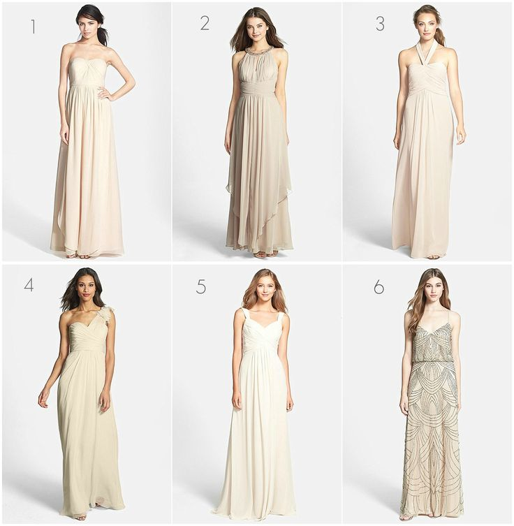 neutral bridesmaid dresses - Google Search