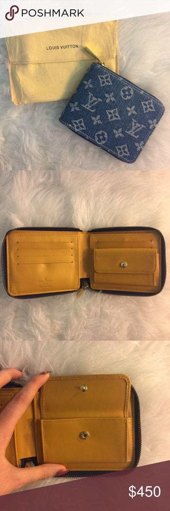 LOUIS VUITTON denim monogram zip bifold wallet perfect condition, never used, kept in dust bag,  Louis Vuitton denim monogram zip bifold wallet AUTHENTIC Louis Vuitton Bags Wallets