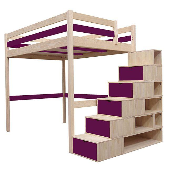 Lit Mezzanine Sylvia avec escalier cube bois | Mobilier de salon, Chambre amusante et Cube rangement