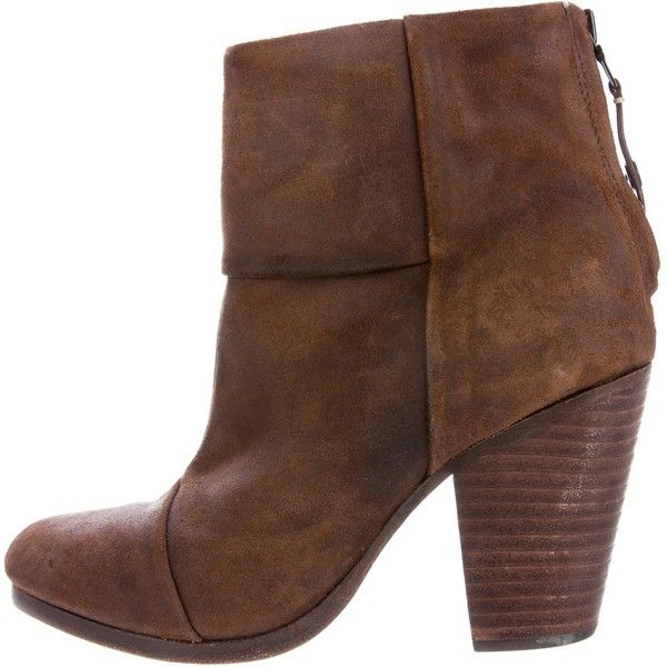 Pre-owned Rag & Bone Newbury Suede Ankle Boots ($300) ❤ liked on Polyvore featuring shoes, boots, ankle booties, brown, brown ankle booties, brown booties, brown bootie, brown ankle boots and zip ankle boots