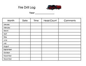 Free Printable Daycare Fire Drill Log Form