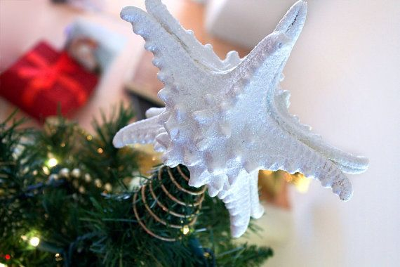 Large White Knobby Starfish Tree Topper - 8 Inches - Christmas Decor - Your choice of Base