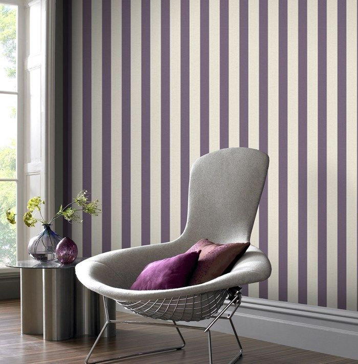 Ticking Stripe Wallpaper - Purple Stripes Wall Coverings by Graham  Brown