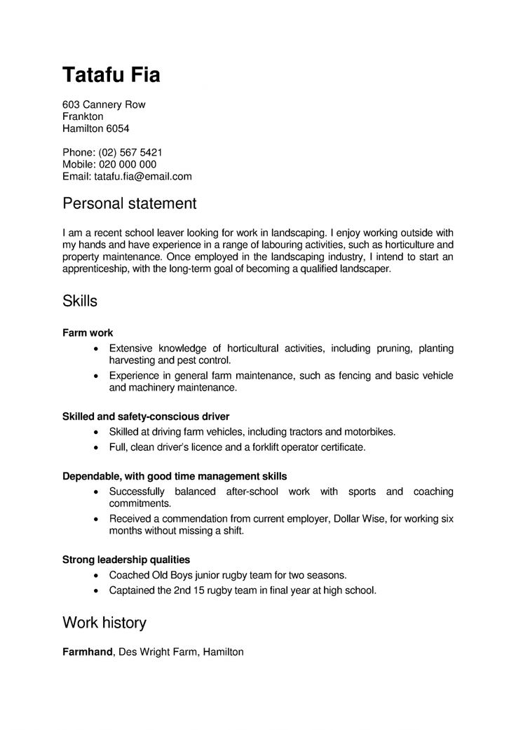 sample resume for new zealand