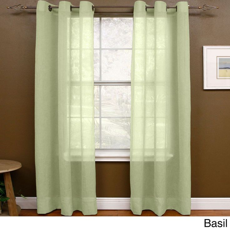 """Miller Curtains Preston 108-inch Sheer Grommet Panel (48"""" X 108"""",Basil), Green, Size 108 Inches (Polyester, Solid)"""