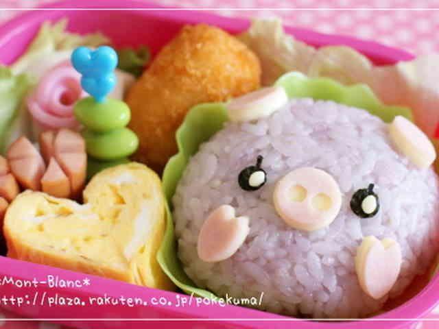 幼稚園の子供用お弁当☆ブタちゃんの画像