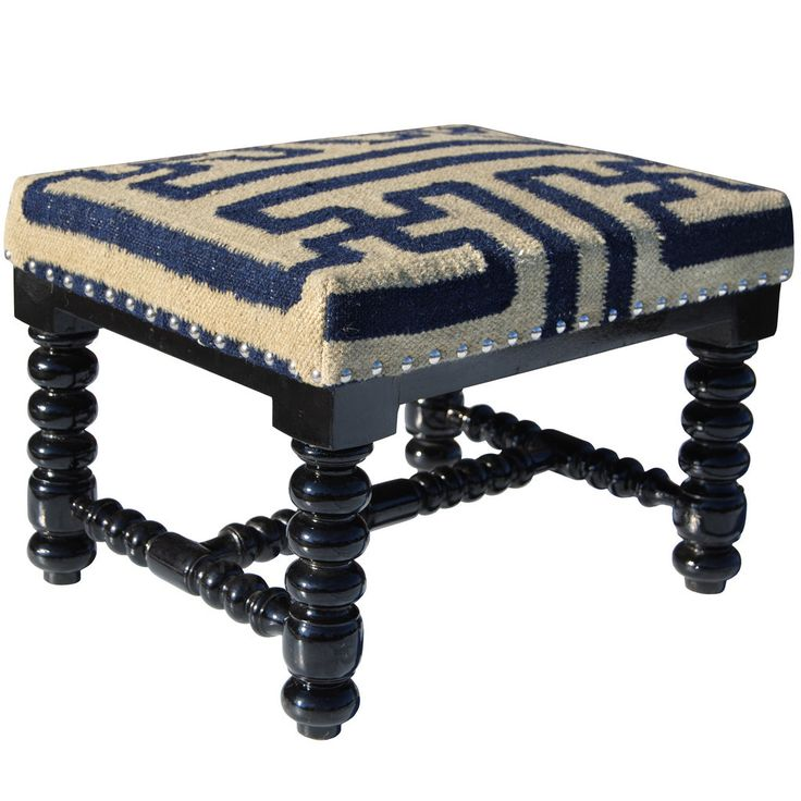 Update your home decor with a beautiful cotton and wool upholstered wooden footstool. This handmade footstool is a unique piece of world art that will add that perfect decorative touch to any room.