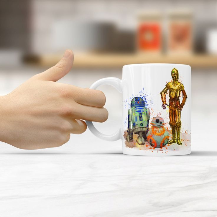 Star Wars R2-D2, BB-8 and C-3Po coffee mugs travel cups ceramic white mug home decal porcelain tea cups drink water milk beer #Affiliate