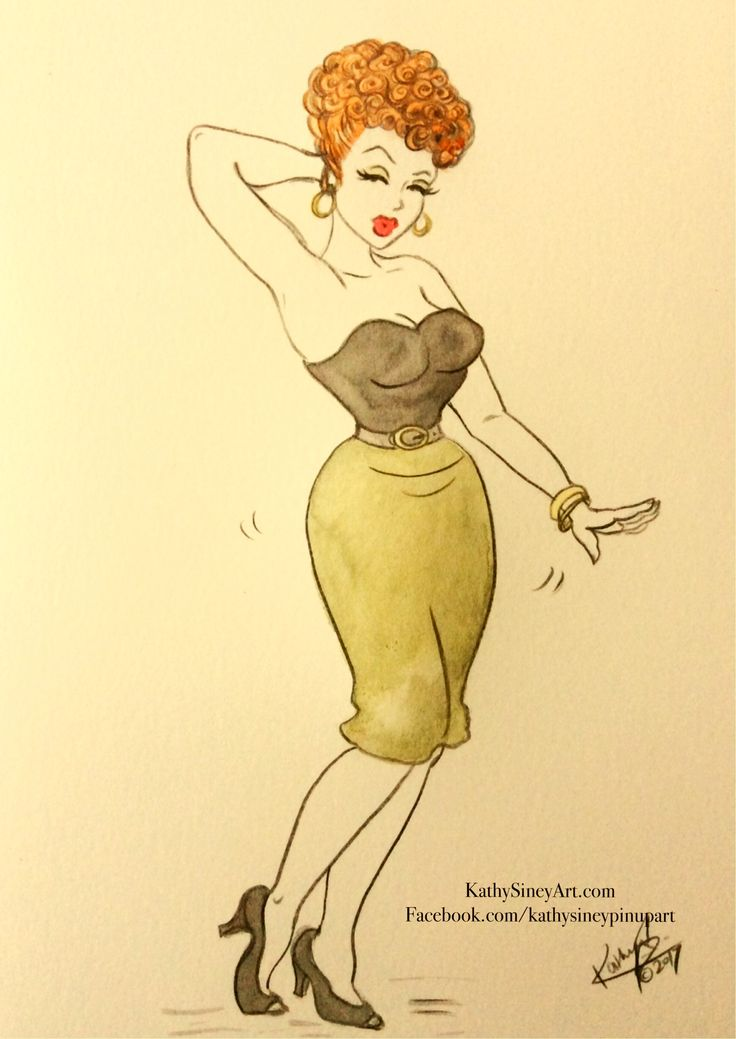 Wiggle in her Walk. Vintage pin up in watercolour