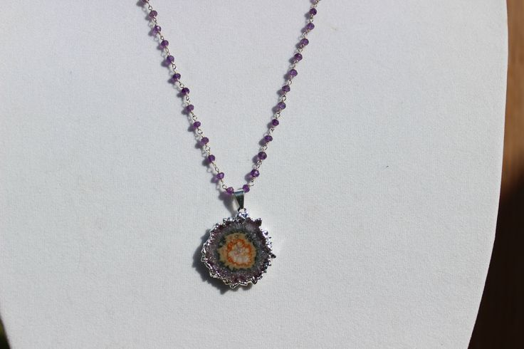 Amethyst Stalactite Slice Pendant Necklace, Amethyst Gemstone Chain Necklace, Sterling Silver Chain Necklace by EarthSeaSkyJewelry on Etsy