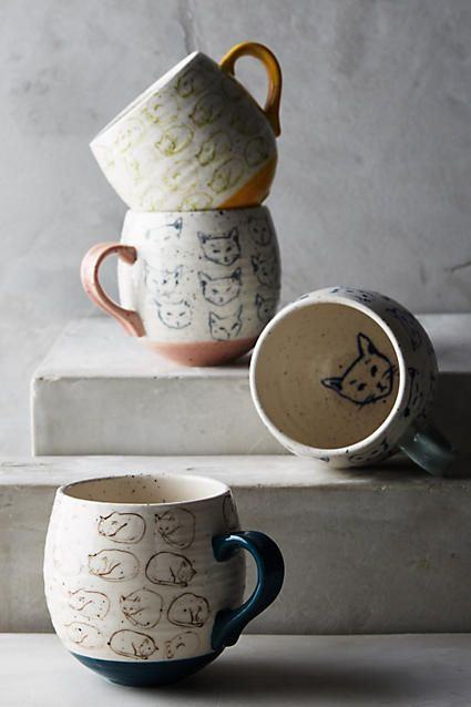 Cat Study Mug - Surface designer Leah Goren is a Brooklyn-based Parson's alum whose sweet, clever and quirky patterns originate from her sketches and watercolor paintings, lending each piece a strong graphic presence. Her sketches of curled-up cat poses adorn this speckled, rounded mug, making it an instant classic for lazy Sunday mornings. (aff link)