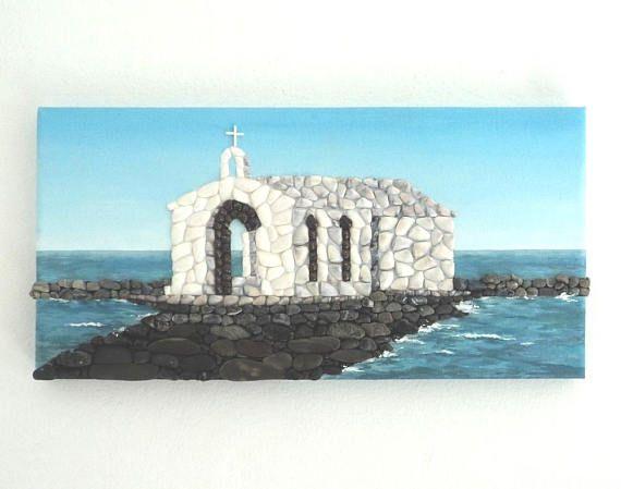 Acrylic Painting, Artwork with Seashells, Chapel on the Rocks in Seashell Mosaic and pebbles, Mosaic Art, 3D Art Collage, Wall Decor, Home Decor #ArtworkwithSeashells #mosaiccollage #seashellmosaic #homedecor #walldecor #3D