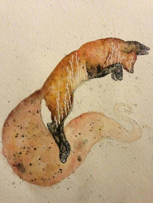 Watercolour fox
