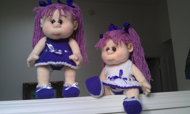 Blueberry twin dolls. Handmade. Knitted.