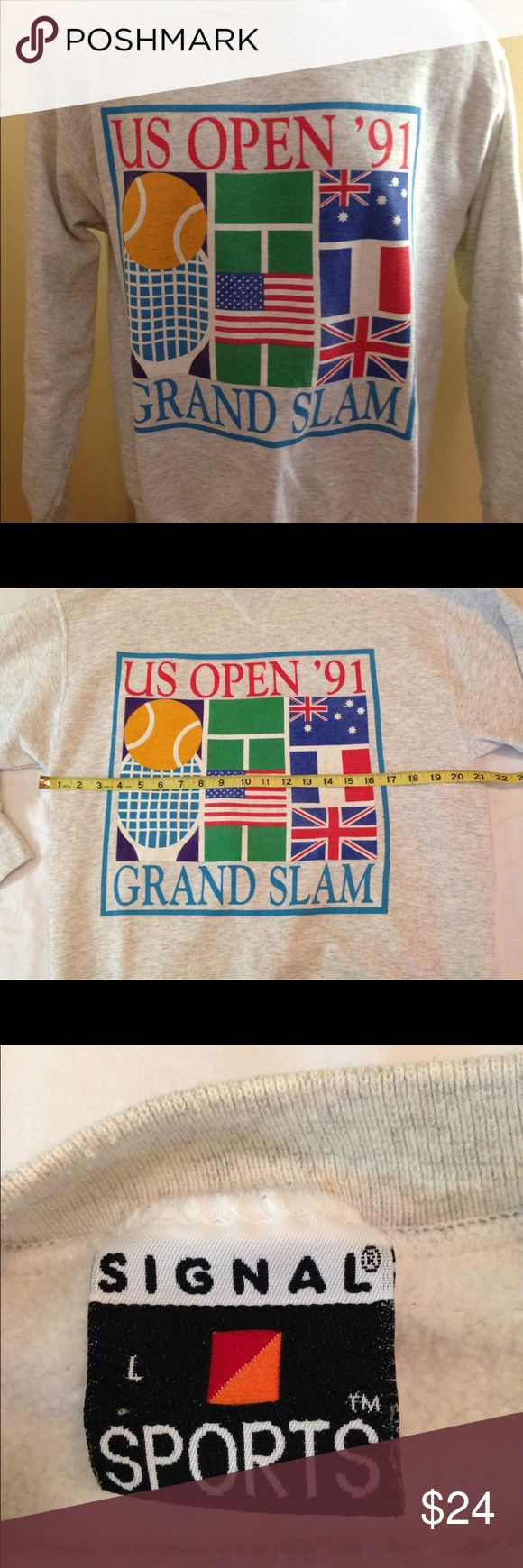 """Vintage US Open '91 Grand Slam Crewneck Sz L Vintage US Open '91 Grand Slam Crewneck Sz L in great preowned condition. Armpit to armpit 21"""" by Signal Made in USA. See pics! Vintage Shirts Sweatshirts & Hoodies"""