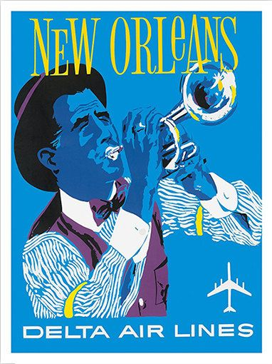 New Orleans - Delta Airlines - Vintage Travel Poster    Printed on high quality 300 gr. matte fine art paper. A high quality reproduction of vintage