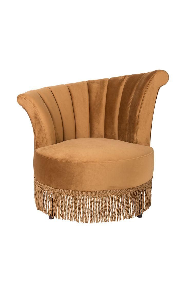 Flair Lounge Chair | Velvet Golden Brown