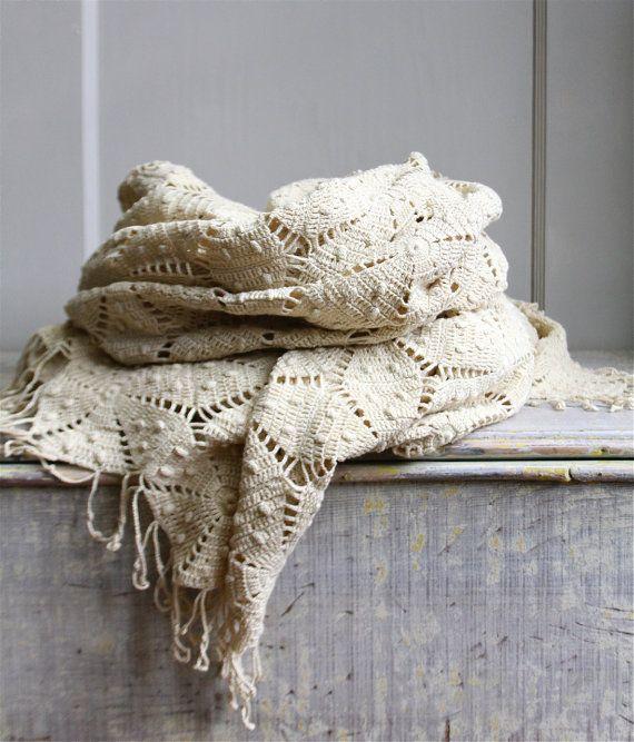 Vintage Crochet Bedspread - Coverlet. $125.00, via Etsy. Crochet ...