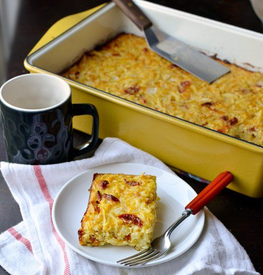 Cheesy Potato Breakfast Casserole with Cheddar & Sun-Dried Tomatoes ...