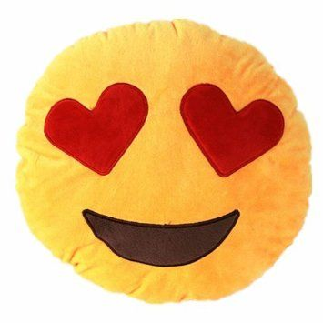 VOMO 32cm Emoji Yellow Round Pillow with 2 Heart-shaped Eyes