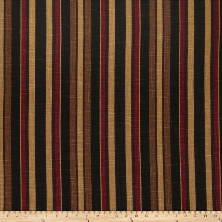 Jaclyn Smith 02106 Art Stripe Blend Berry from @fabricdotcom Screen printed on a linen/rayon blend this medium/heavyweight fabric is very versatile and perfect for window treatments (draperies, valances, curtains, and swags), toss pillows and upholstery. Colors include dark red, black, brown and gold. This fabric has 36,000 double rubs.