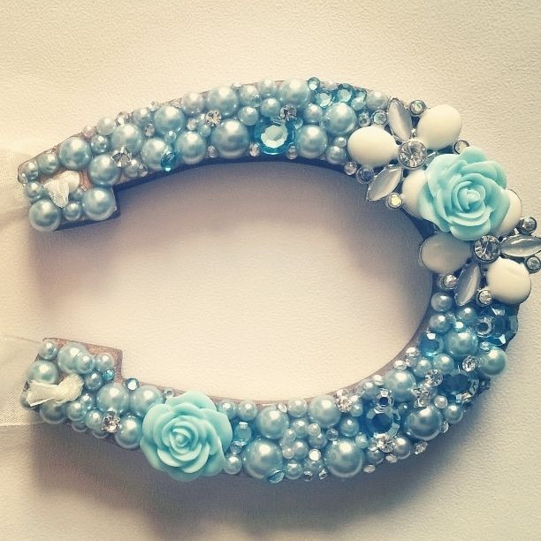 Lucky horseshoe wedding gift, something blue flower and pearl