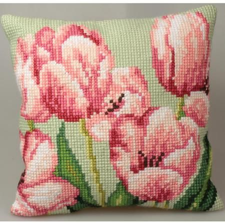 Collection d'Art Tulipe A Droite Pillow - Needlepoint Kit. Needlepoint pillow kit featuring flowers. This Needlepoint Kit contains full color design printed on