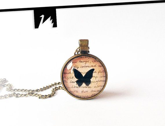 Original painting under glass butterfly necklace by TotemSwan