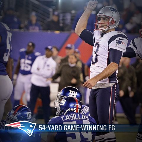 Gostkowski's FG, was his 264th -- passing Vinatieri for most in Patriots history #NEvsNYG