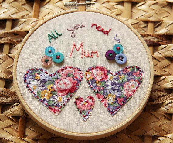 All You Need Is Mum Embroidery Hoop Hanging - Unique Mother's Day Gift