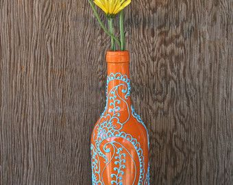 Florero Henna Diseño botella de vino de Borgoña/marrón con