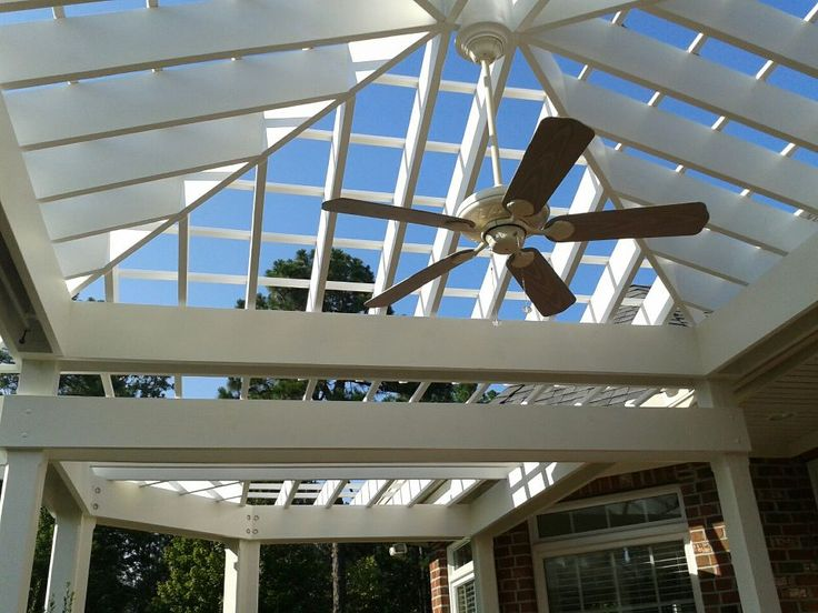 Hip Roof With Fan Backyard Landscaping Attached Pergola