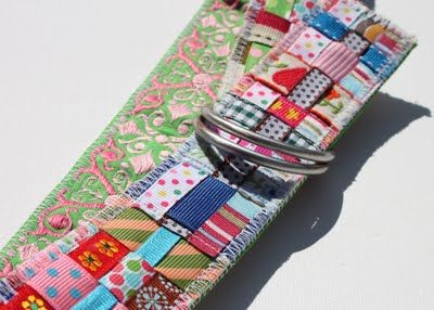 Scrap ribbon threading - use for camera strap, hairbands, belt, coasters, toddler dresses, etc... the camera strap example is here http://www.lilblueboo.com/2009/10/scrap-ribbon-camera-strap-cover.html