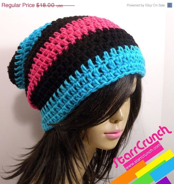 SALE 20% OFF Slouchy Beanie Crochet Hat in Blue Pink and Black. $14.40, via Etsy.