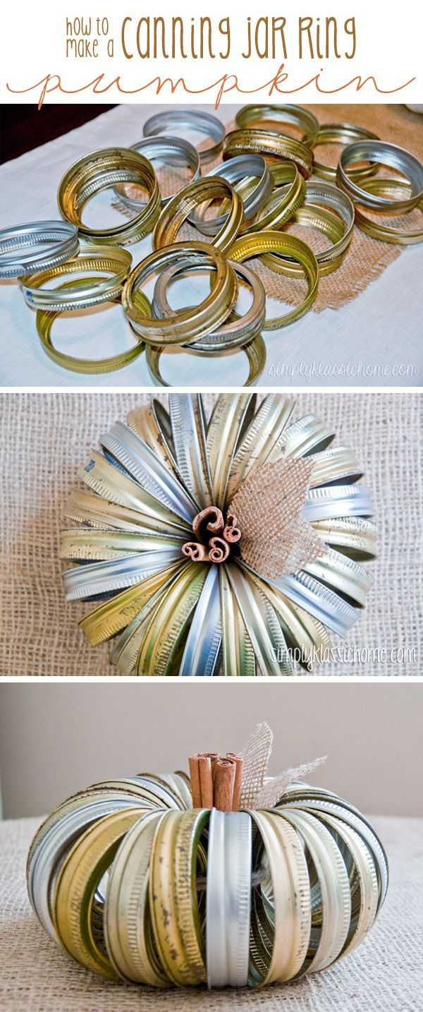 Don't throw out those old canning jar rings! This little pumpkin is super easy…