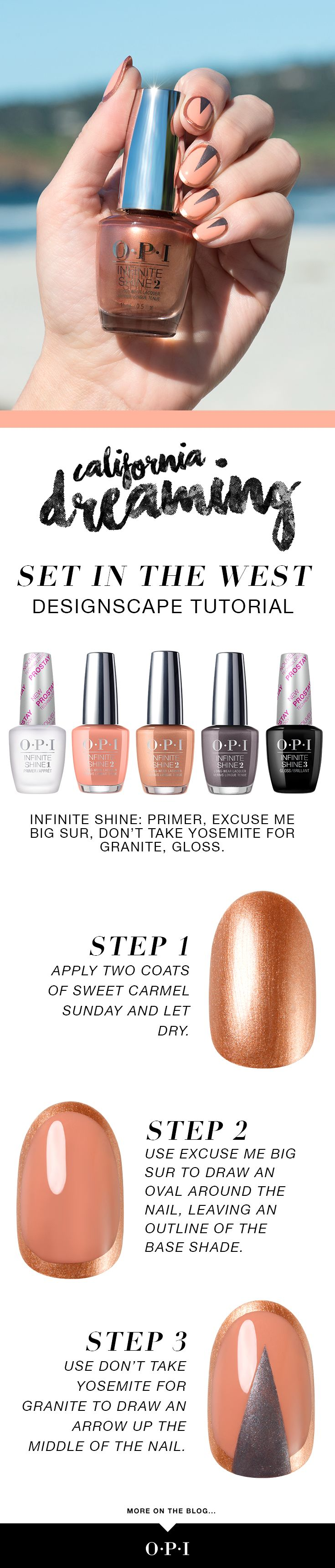 """OPI's California Dreaming collection is now available in Infinite Shine. Let us inspire your summer nails with """"Set in the West,"""" a fun summer nail art using colors from the new California Dreaming collection by OP1. Drive down the coast with this bright #OPICaliforniaDreaming look."""