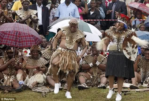 South African President Jacob Zuma and his fifth wife doing the traditional wedding dance.