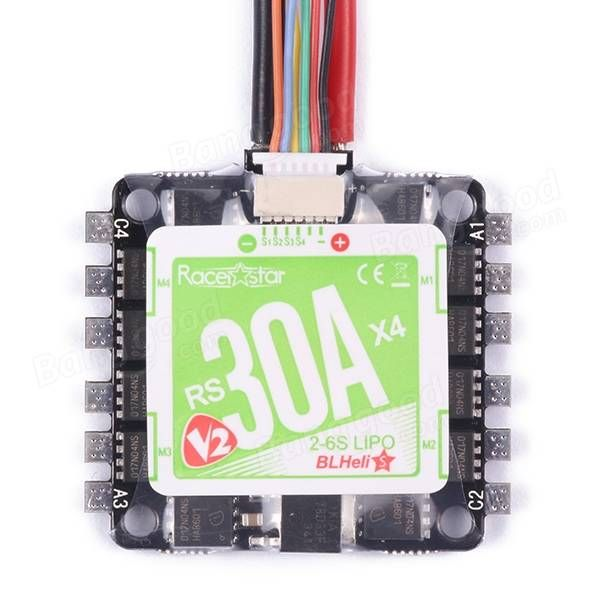 Racerstar RS30Ax4 V2 30A BLheli_S BB2 2-6S 4 in 1 ESC Support Oneshot42 Multishot for FPV Racer