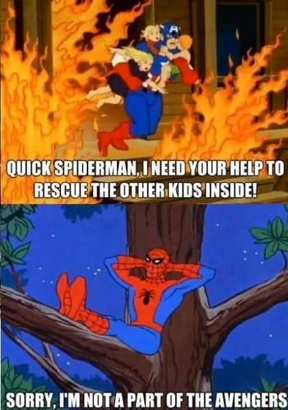 avengers mavel funny | funny meme Spiderman save kids comics Captain America Marvel avengers ...
