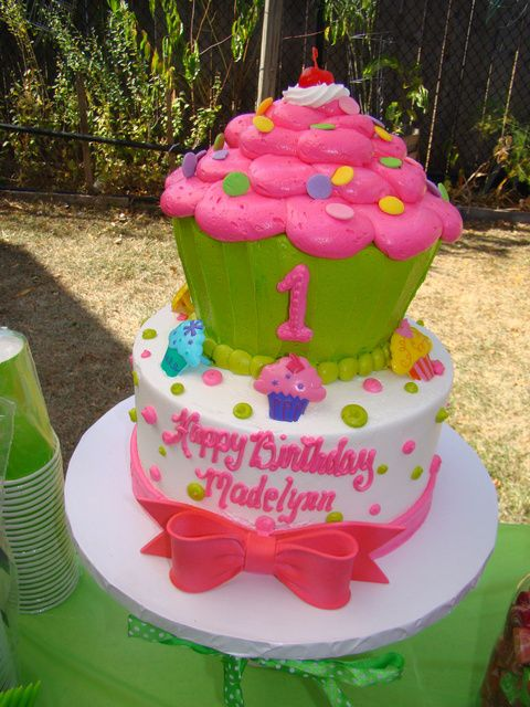 """Photo 4 of 14: pink and green cupcake / Birthday """"Madelynn's 1st birthday"""" 