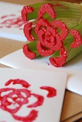 Celery stalk as a flower stamp