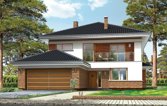 Projekt Willa na Borowej to piętrowy dom jednorodzinny dla rodziny cztero-sześcioosobowej, przykryty czterospadowym dachem. Dom jest podmiejską willą o nowoczesnej ale spokojnej architekturze. Zwarta bryła budynku z dobudowanym garażem i dużym zadaszonym podcieniem z tyłu domu, została ciekawie ozdobiona klinkierowymi i drewnianymi okładzinami elewacji, oraz loggiami i podcieniem wejściowym. Masywny ozdobny komin kominka wewnętrznego i zewnętrznego, czy narożne okna - to dodatkowe ozdoby…