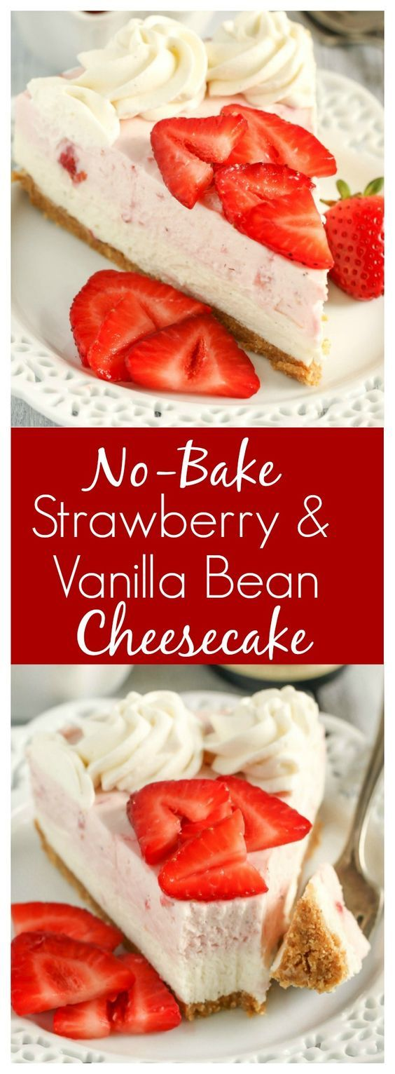 This No-Bake Strawberry and Vanilla Bean Cheesecake starts with a homemade graham cracker crust and is topped with a no-bake vanilla bean cheesecake layer, strawberry cheesecake layer, and a homemade vanilla bean whipped cream! [ad] @nielsenmassey