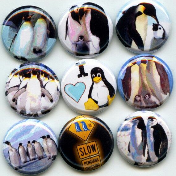 I Love Penguins pinback button set by Yesware11 on Etsy.. click for details!