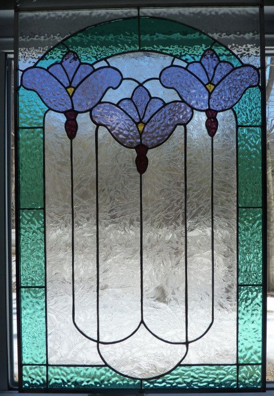 Stained Glass Victorian Panel Three Flowers by WildwindsGlass, $275.00