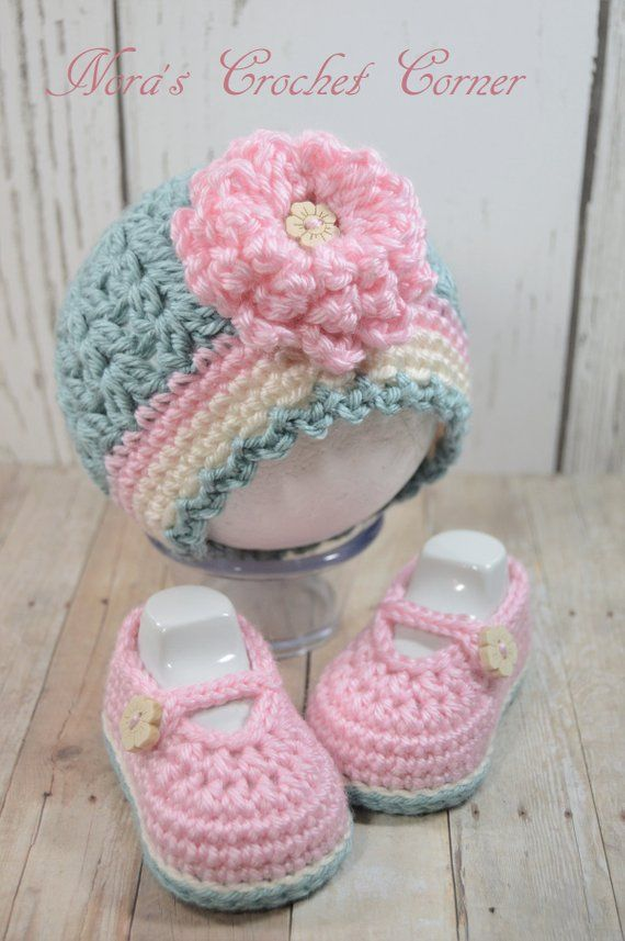 dd7f4eba0c3 Crochet Baby Girl Hat and Mary Jane Shoes