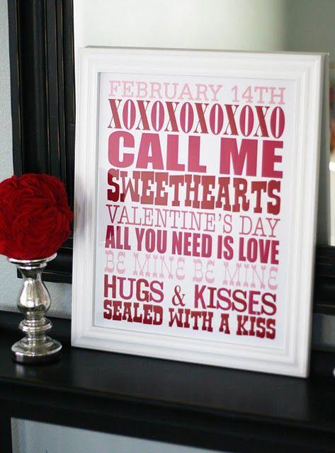 valentine's dayValentine'S Day, Subway Art, Valentine Subway, Valentine Day Decor, Words Art, Valentine Ideas, Free Printables, Valentine Decor, House Decor