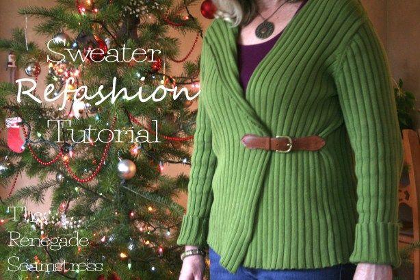 Pullover to cardigan refashion tutorial6