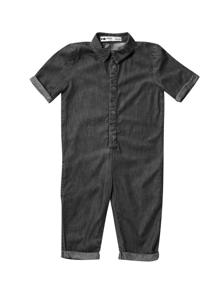 Chambray Mechanic Jumpsuit | Black Washed Denim OM129